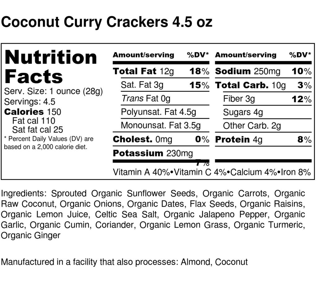 Coconut Curry Crackers 4.5 oz