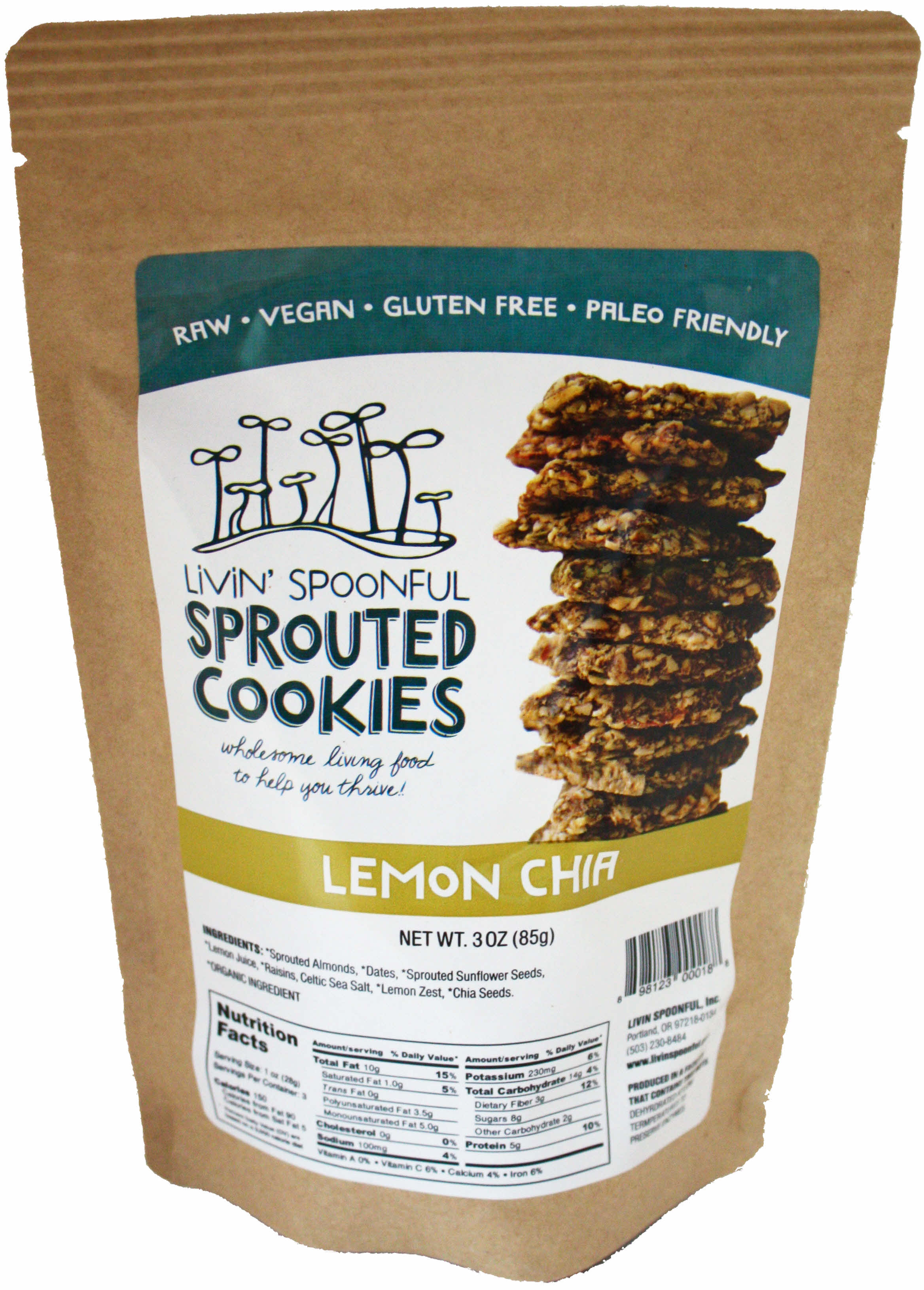 Livin' Spoonful Sprouted Lemon Chia Cookies